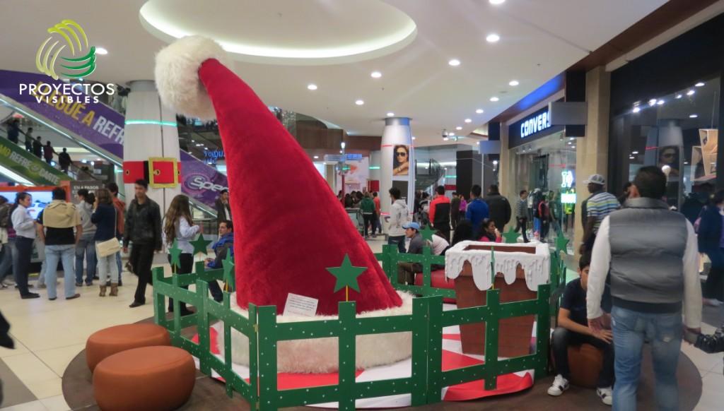 Escenario navidad sombrero de papa Noel